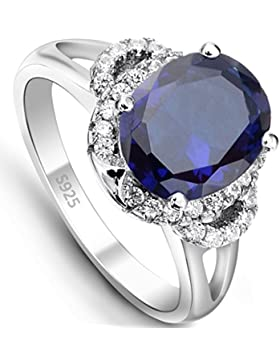 EVER FAITH® 925 Sterling Silber Oval Cut Saphir farbe CZ Engagement Ring