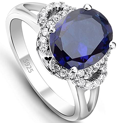 EVER FAITH® - Brillant Bleu - Bague Alliance Femme Argent 925 Vintage Style Ovale Zircon - Taille 54