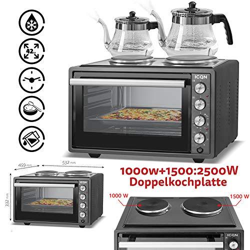 ICQN 42 Liter Mini ofen mit 2 Kochplatten und Umluft | 3800 W | Innenbeleuchtung | Pizza-Ofen | Gitterrost | Individuell einstellbare Temperaturregelung | Emailliert | Gleichzeitig Kochen und Backen