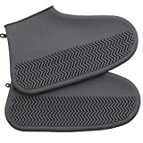 CWeep Silicone Waterproof Rain Boots Cover, Thick Wear-Resistant Washable Reusable Outdoor Multi-Functional Waterproof Shoe Cover. Wear (Grey, S)