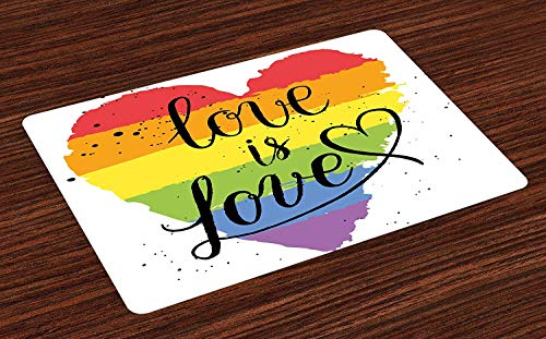 Pride Place Mats, LGBT Gay Lesbian Parade Love is