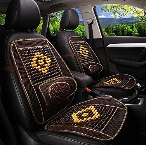 alvyu Universal Auto Sitzbezüge,Autositz Holzkugel Sitzauflage Stuhl Massage Rückenstütze Lordosenstütze Mesh Lüften Kissen Pad Für Haus Und Auto-1 Stück,Brown