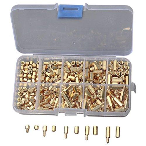 TOOGOO(R) 300 Stueck/ Kit M3 Schraubmutter 4-12mm Spacer Sechskant Messing Isolation Spalte Threaded Motherboard Standoffs Gelb (Gelb Motherboard)