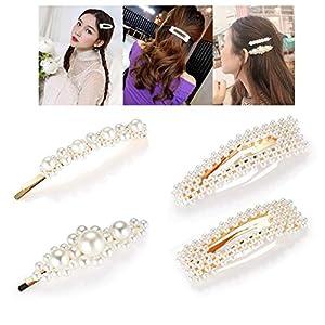 H-Piano Perle Haarspangen für Frauen Mädchen, 8pcs Mode süße künstliche Perle Krokodilklemmen Haarspangen Bobby Pins Snap Clips dekorative Haarschmuck für Party Hochzeit täglich