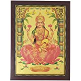 Goddess Lakshmi Photo Frame ( 34 Cm X 26 Cm X 1.5 Cm, Brown ) / Wall Hangings For Home Decor And Wall Decor / Photo Frames For Posters And Thanksgiving Wall Decorations / Laxmi Lakshmi Kuber Kubera Art Work For Paintings And Wall Stickers / God Gods And G