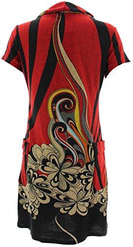 Purplish Strickkleid SWIRL FLOWERS DRESS 7031 Rot