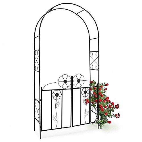 BAKAJI Arco da Giardino per Piante Rampicanti con Cancello Battente in Metallo 116 x 36,5 x 228H cm Colore Nero