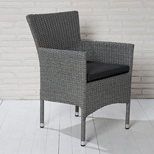 Stapelbarer Armlehnstuhl aus der Möbelserie Modesto in grau mit Sitzkissen für Garten, Terrasse...