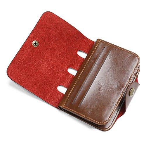 Kartenhalter | Kartenetui | Leder Geldbörse | Wallet | Portemonnaie | Brieftasche | Portmonee | Geldbörsen Herren | Geldbeutel | Vintage Geldsack | Geldklammer von JINBAOLAI (Braun) Braun