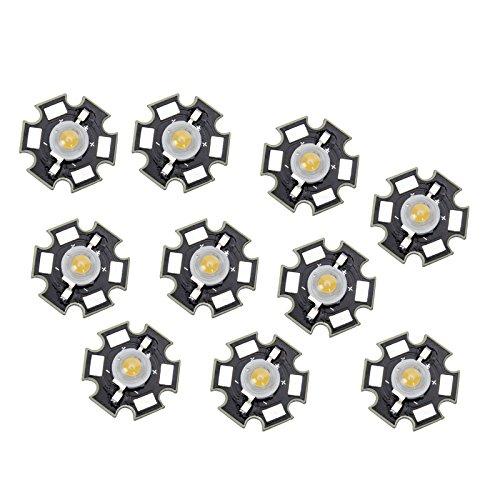 LED luz de estrella - SODIAL(R) 10 piezas 3W LED bombillas lampara luz blanca calida de alta potencia
