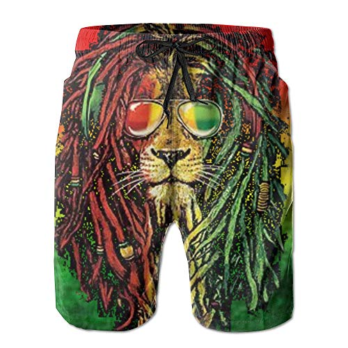 ca8d739577 Men's Quick Dry Rasta Lion Cool Beach Shorts Swim Trunks Beach Board Shorts  M