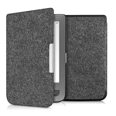kwmobile Housse Flip pour Pocketbook Touch Lux 3 / Touch Lux 2 / Basic Lux / Basic 3 / Basic Touch 2 - Housse de protection pour E-Book avec motif Design Feutre en gris foncé