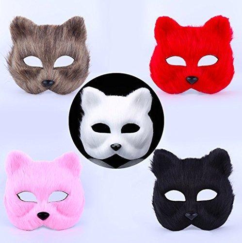 Kostüm Animal House Party - Treasure-House 2 pcs weiß + rot Fox Gesicht Maske Kostüm Pro für Maskerade Halloween Thema Party