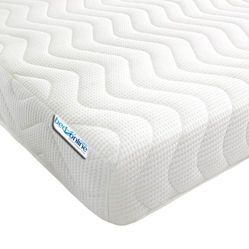 BEDZONLINE Memory Foam And Reflex 3 Zone Mattress with 1 Fibre Pillows, Micro Quilted COOL Flex Cover, single, White, 90 x 190 cm