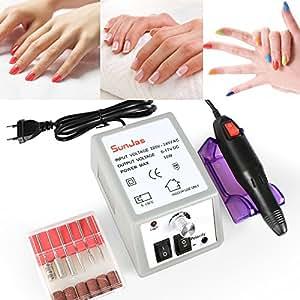 Sunjas manucure machine ongles electrique Kit Complet Ponceuse Électrique Professionnelle manucure et pédicure avec 6 embouts ponçage