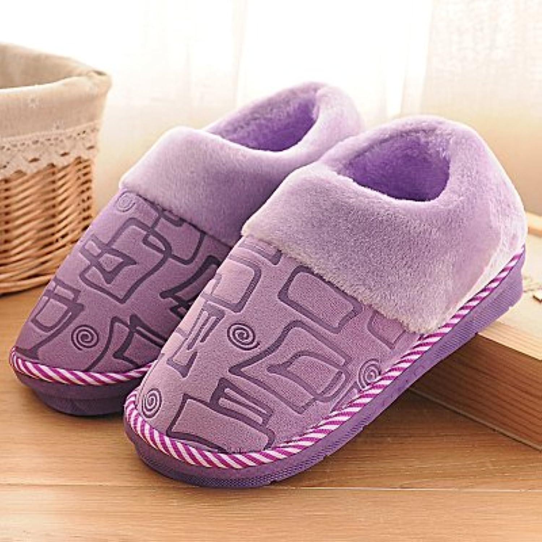 YMFIE Cálido invierno interior zapatillas de algodón y calzado antideslizante,36 / 37,h