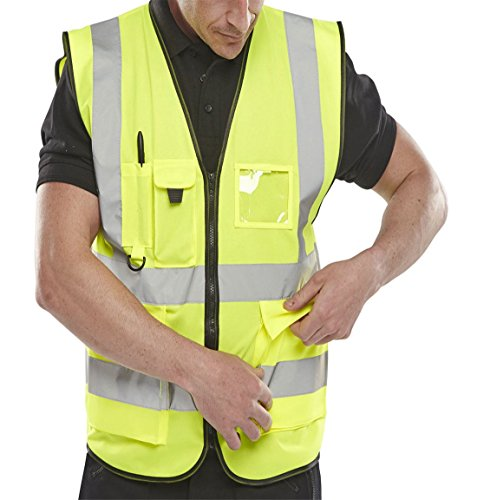 Islander Fashions Erwachsene High Visibility Weste Herren Sport Arbeitskleidung Sicherheit Reflektierende Weste Gelb XXXXX Gro� -
