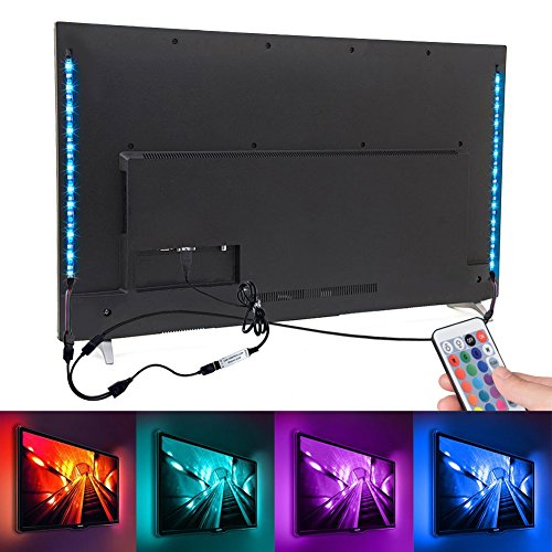LED-Streifen mit EMIUP, 2x 50cm (RGB 5050Multicolor, 5V, USB, TV-Hintergrundbeleuchtung LED-Beleuchtung, Set mit 24Tasten Fernbedienung-Controller für HDTV Heimkino-Desktop-Monitore