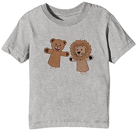 Marionnettes Enfants Unisexe Garçon Filles T-shirt Cou D'équipage Gris Manches