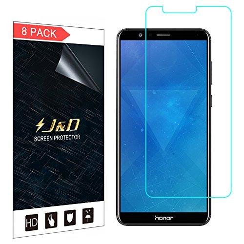 J & D Kompatibel für 8er Set Huawei Honor 7X Display Schutzfolie, [Nicht Ganze Deckung] Premium HD-Clear Schutzfolie für Huawei Honor 7X
