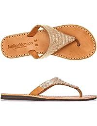Laidback London Womens Sandal Craine Midbrown Flat Rubber Silver