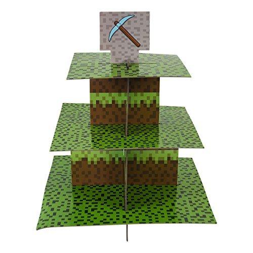 Blau Obstgärten Bergbau Fun Cupcake-Ständer & Pick Kit, Pixel Dekorationen, Minecraft inspiriert, Geburtstage, Party Supplies, Kuchen Dekorationen, 3Etagen Cupcake Ständer aus Karton