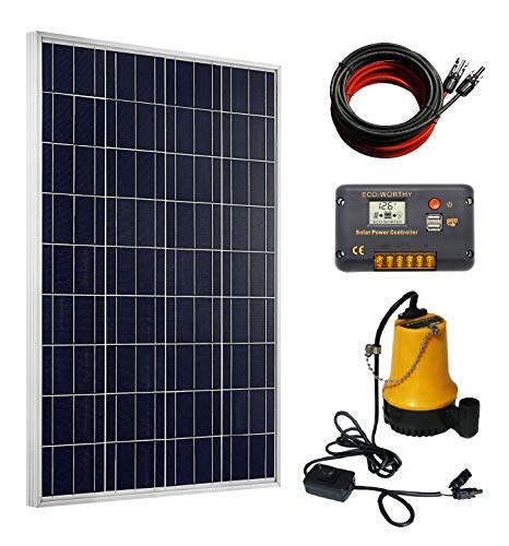 DC HOUSE Solar Pump Kit: 100 Watts Poly Solar Panel & 12V Water Pump for Pond, Fountain, Water Feature, Hydroponics, Aquarium, - Heavy-duty High-volume