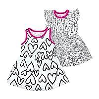 فساتين أطفال عضوية عضوية للبنات من لاميز White Hearts 18 شهر
