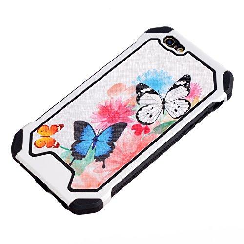 Voguecase® für Apple iPhone 6/6s 4,7 hülle,2 in 1 (Harte Rückseite) Hybrid Hülle Schutzhülle Case Cover (Frühling) + Gratis Universal Eingabestift Aquarell Schmetterling 01