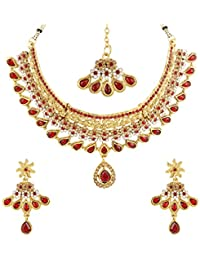Moneekar Jewels Red & White Crystal Gold Plated Ethnic Necklace Set With Maang Tikka & Earrings For Women (AMAZON'S...