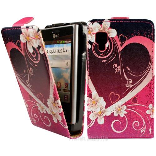 LG Optimus L4 II E440 Premium Leder Flip Case - Rot Hearts Pu Leder Schutz Hülle Flip Case Für Lg Optimus L4 II E440 - thinkmobile