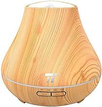 Humidificador Aromaterapia TaoTronics 400ml Difusor de Aceites Esenciales Ultrasónico Difusor de Aromas Ambientador (Vapor Frío, Luz nortuna, 3 modos de LED 7 colores, Proteción de Agua baja ) perfecto para Yoga, Dormitorio