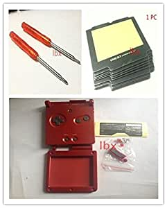 YHC Red Housing Shell Case+Lens+Screwdriver for Nintendo GBA SP Gameboy Advance SP