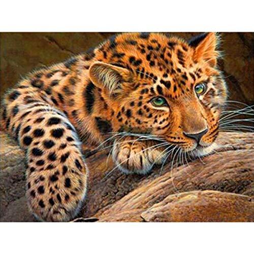 Leezeshaw 5D DIY Diamant Gemälde nach Zahlen Kits berühmte Strass-Stickerei Gemälde Bilder für Home Decor - Gepard (30 x 20 cm) Frameless Cheetah-1 Strass Cheetah