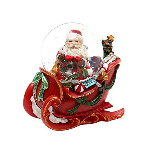 Bellisima palla di vetro con neve e base a forma di slitta, circa 5 x 7,5 cm/ Ø 4,5 cm