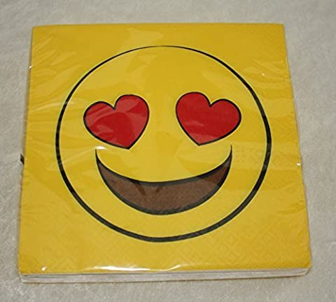 Pack of 20Napkins-Smile Emoji-33x 33cm Heart Shaped Eyes Smily Image Characters Ideogramme SMS Chat
