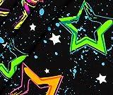 0,5m Jersey Neon Sterne - schwarz/bunt ÖkoTex
