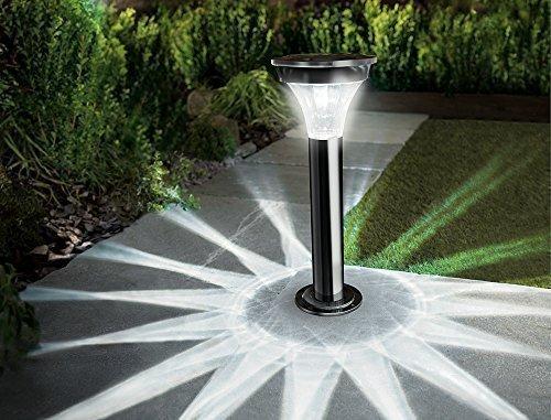 Tourwell Vertrieb Hochwertige Edelstahl Solarleuchte Mit Bewegungsmelder Außen - Solar Gartenleuchte für Garten Terrasse und Balkon weiß