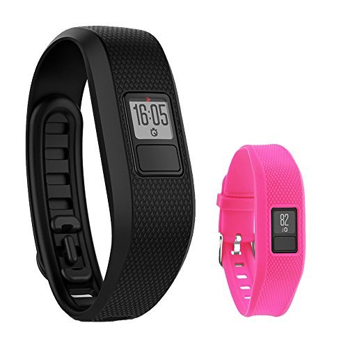 Garmin Garmin Vivofit 3 Activity Tracker Fitness Band - Regular Fit (Black) with Extreme Speed Silicone Replacement Wrist Band Strap (Rose)