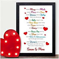 I Love You Disney Couples Personalised VALENTINES DAY GIFTS for Him Her Mr Mrs - PERSONALISED ANY NAMES for Anniversary, Birthday - Black or White Framed A5, A4, A3 Prints or 18mm Wooden Blocks