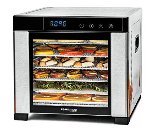 ROMMELSBACHER Dörrautomat DA 900, große Dörrfläche 0,6 m², inkl. 6 Edelstahl-Dörrtabletts, 1 Dörrgitter, 1 Dörrmatte, LED-Display, 24 Std. Zeitschaltuhr, Temperatur einstellbar (35 °C - 75 °C)