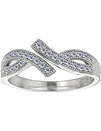 Broche de plata de ley de Micropave chapado en rodio con CZ By Pass ajustable de estilo para dedo del pie anillo