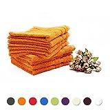 5x Fourscom Seiftuch / Seiftücher / Gästetuch / Gästetücher 500 g/m /100 % Baumwolle /Orange /34 x 34 cm (5er Pack)
