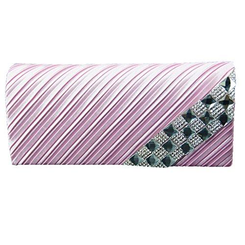Sallyshiny-Borsa da donna con strass, per abiti da sera, da borsetta, da matrimonio (rosa)