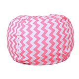 Kids Bean Bag Chair Cover AOLVO Stuffed Animal Storage with Breathable Cotton,Portable Handle & Premium Zipper,Toy Storage Bag Organizer for Plush Toys,Blankets,Towels & Clothes