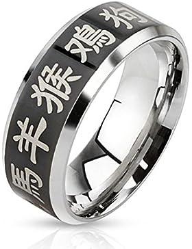 Paula & Fritz® Ring aus Edelstahl Chirurgenstahl 316L schwarzes Band mit lasergravierte chinesischen Sternzeichen...