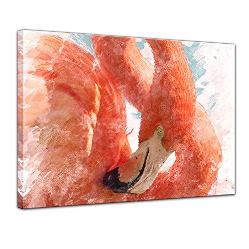 Leinwandbild Kunstdruck Reproduktion Aquarell - Flamingo II - Bild auf Leinwand 70 x 50 cm einteilig...