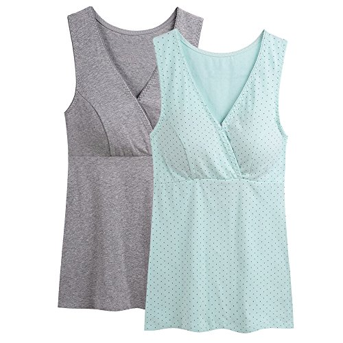 Nursing Top, ZUMIY® Damen Still-shirt Stillen Kleidung Schwangerschaft Still-top (M, Grey+Green dot/ 2Pack)