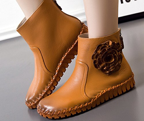 Bottes et boots Femme court confort Oxford cuir plat mocassin décontracté fleuron chaussure élégant Orange