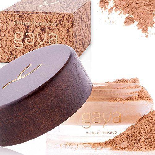 Beste Mineral Puder-make-up (Gaya Cosmetics Foundation Make Up Puder - Vegan Mineral Professionelle Natürliche Full Coverage Foundation Makeup Powder (Schattierung MF4))